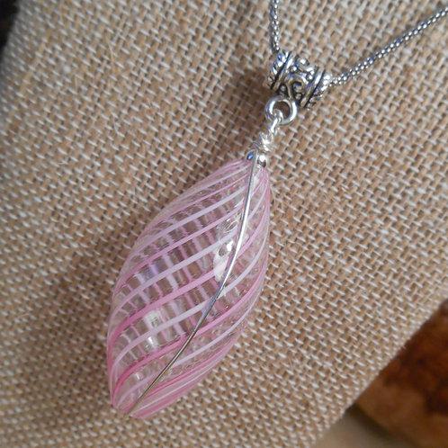 Pink Swirl Murano Glass Pendant