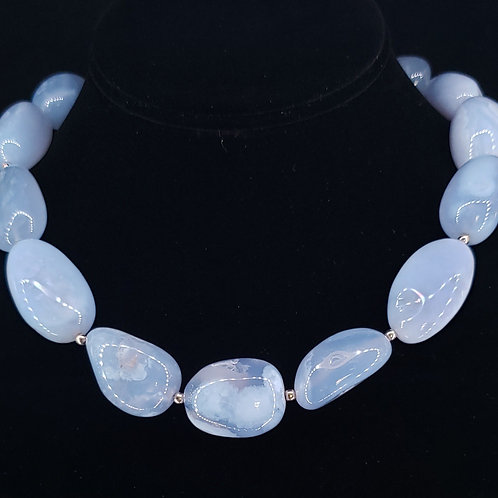 Chunky blue lace agate necklace