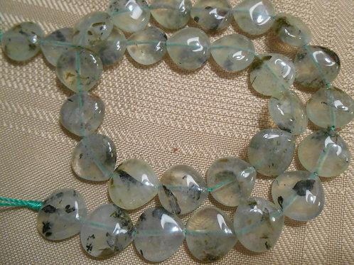 Prehnite Heart Shaped Bead Strand