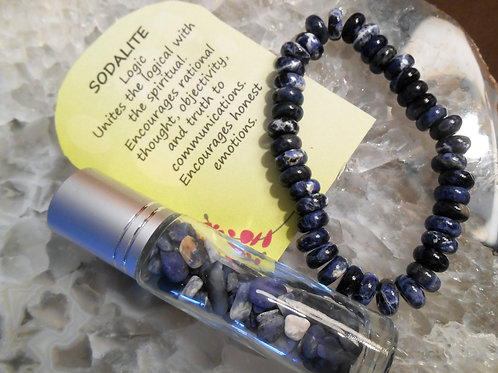 Sodalite Energy Bracelet with roll on gemstone chip bottle