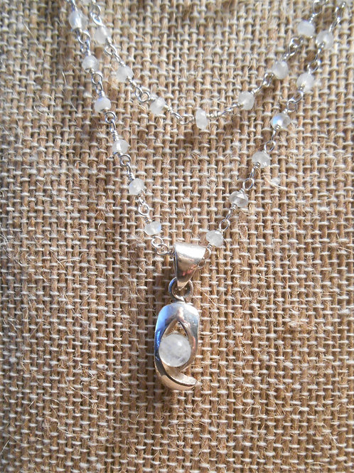 Triple Strand Moonstone Necklace and Pendant
