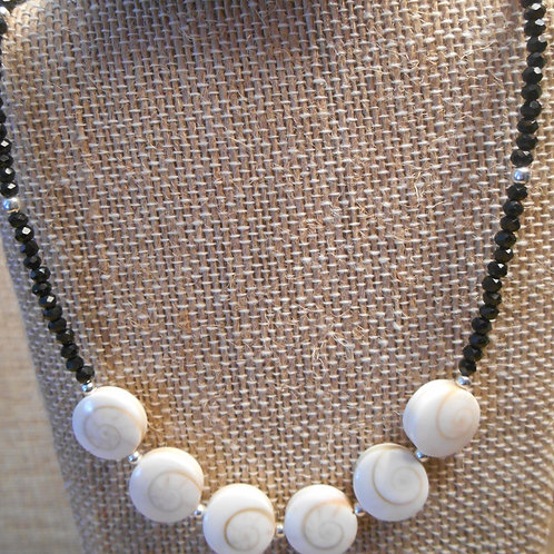 Black Spinel and Shiva Shell Necklace