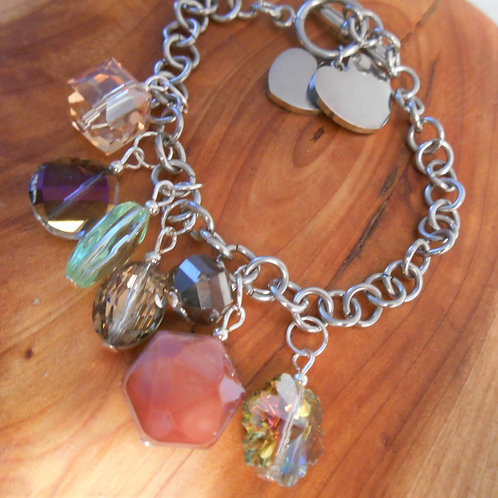 Stainless Steel and Glass Charm Bracelet
