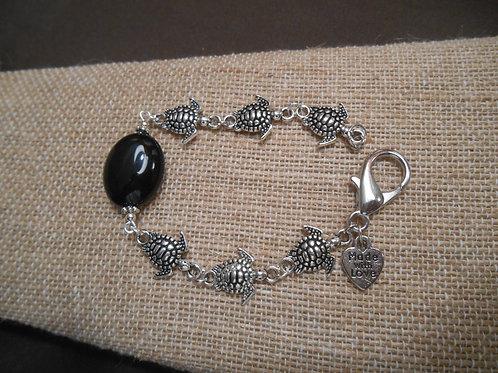 Black Agate and Sea Turtle Bracelet