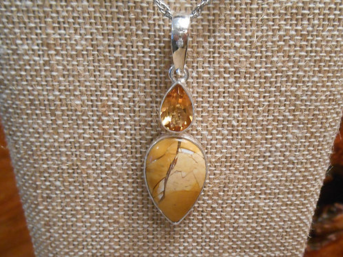 Brecciated Mookaite and Citrine Pendant