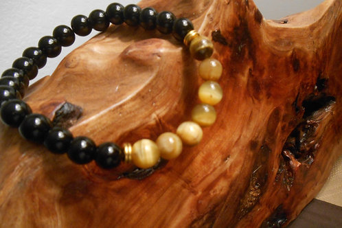 Tigers Eye and Black Agate Stretch Bracelet