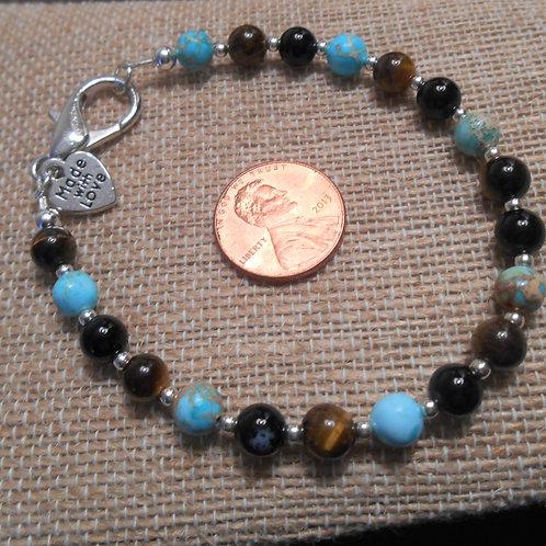 Tigers eye, Howlite & Agate Bracelet