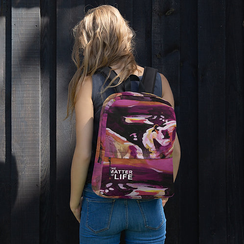 """Art by Caitlin Solan Backpack with """"The Matter of Life"""" Logo"""