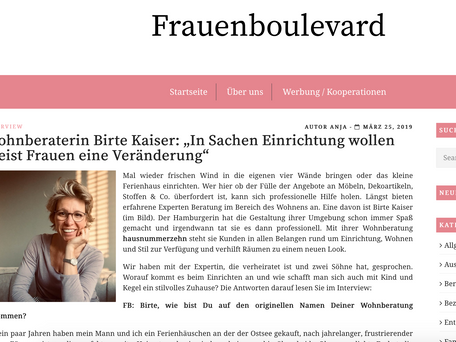 "Interview im Online-Magazin ""Frauenboulevard"""