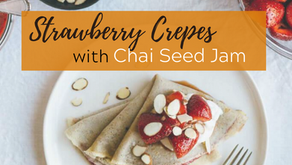 Vanilla Bean Cassava Flour Crepes with Strawberry Chia Seed Jam