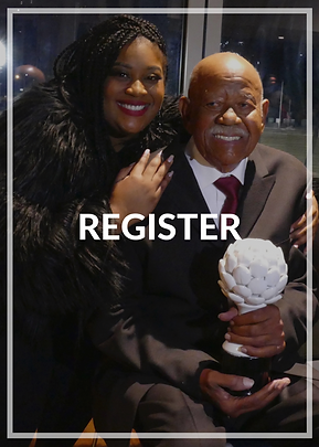 "Gerald Baptiste and niece take a picture together. Text overlayed that reads, ""Register""."