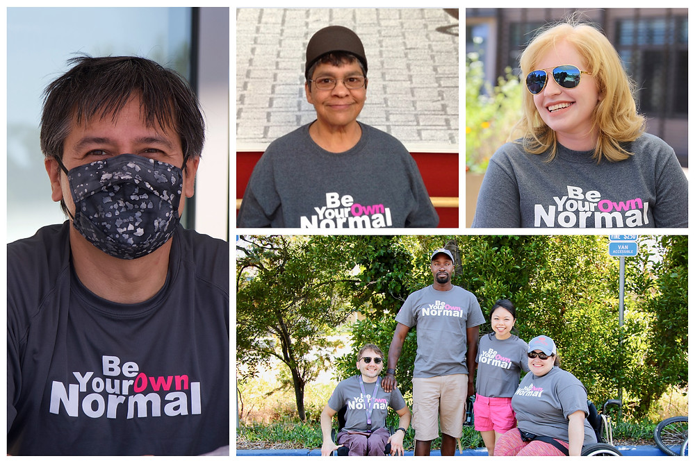 Collage of five people wearing Be Your Own Normal shirts