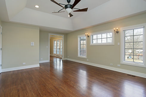 Master bedroom in remodeled home with va