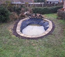 Garden pond under construction