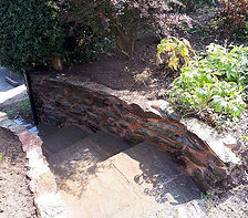 Natural stone wall in garden