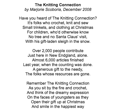 Knitter Marjorie Scoboria, 102, writes poem about The Knitting Connection