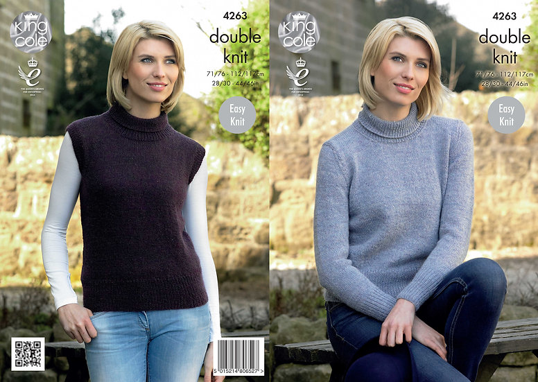 King Cole 4263 Ladies Easy Knit Roll Neck Sweater & Slipover Tank Top Pattern
