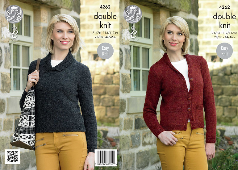King Cole 4262 Ladies Shawl Collar Cardigan & Sweater Double Knitting Pattern
