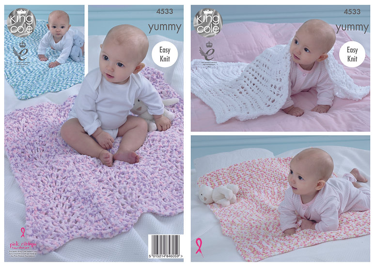 King Cole 4533 Babies Chunky Easy Knit Blankets Knitting Pattern