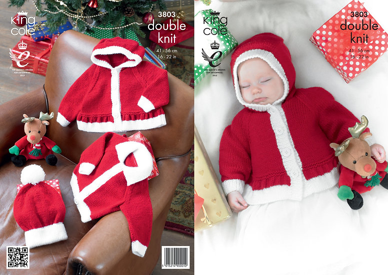 King Cole 3803 Babies Christmas Cardigan, Hoodie and Hat Double Knit Pattern