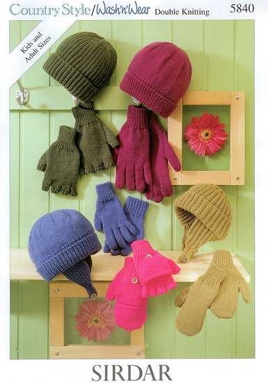 Sirdar 5840 Hats, Gloves and Mittens Double Knit Pattern