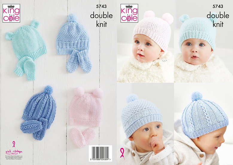 King Cole 5743 Babies Hats and Mittens Double Knitting Pattern