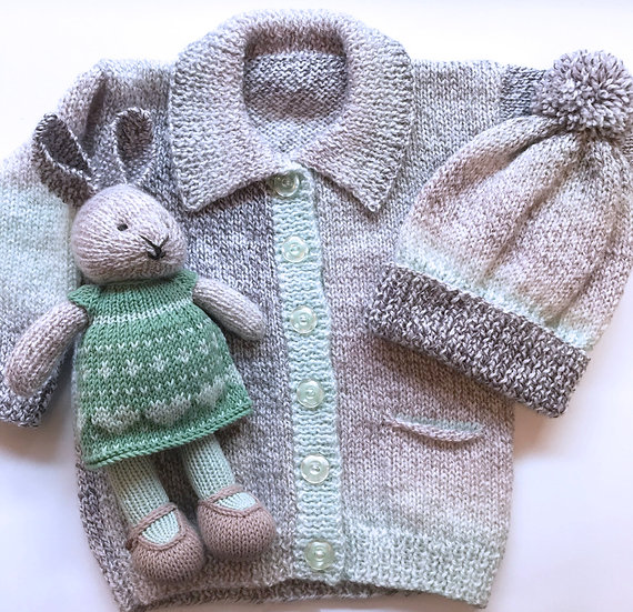 1 - 2 Years Baby Jacket, Hat and Bunny Set