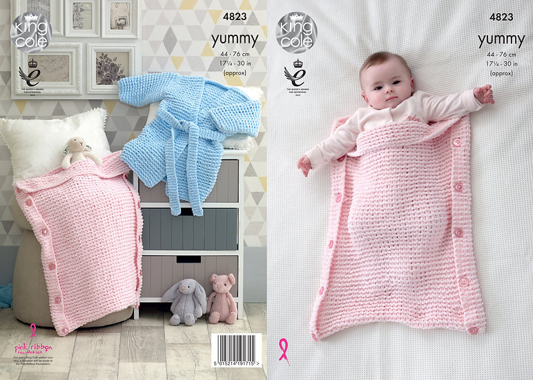 King Cole 4823 Babies & Childrens Sleeping Bag & Dressing Gown Knitting Pattern