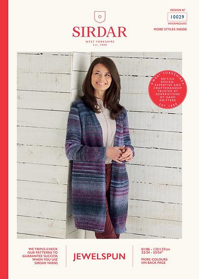 Sirdar 10029 Long Aran Cardigan Knitting Pattern