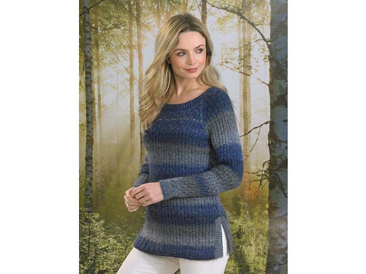 James C. Brett JB495 Ladies Ribbed Sweater Double Knitting Pattern