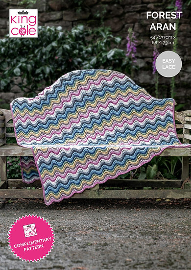 King Cole Forest Aran Knitted Blanket Kit