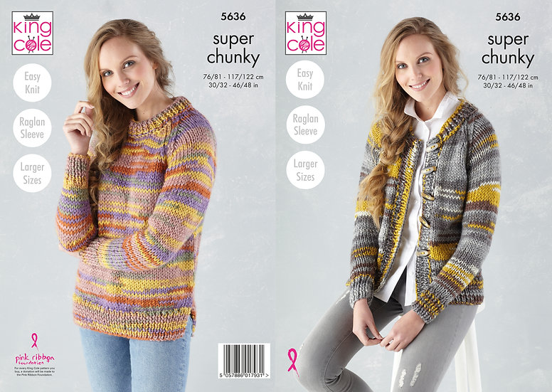 King Cole 5636 Round Neck Jumper and Cardigan Super Chunky Knitting Pattern
