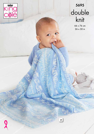 King Cole 5695 Babies Blanket Double Knitting Pattern