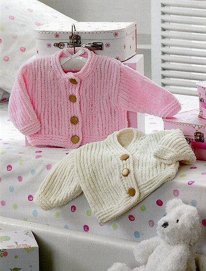 James C. Brett JB199 Babies Chunky Round Neck & V Neck Cardigan Knitting Pattern