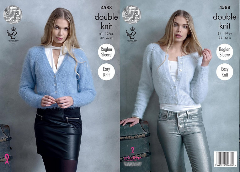 King Cole 4588 Round and V Neck Cardigan Double Knitting Pattern