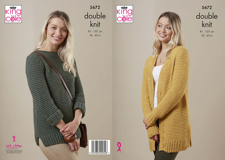 King Cole 5672 Boat neck Sweater and Long Cardigan Double Knit Knitting Pattern