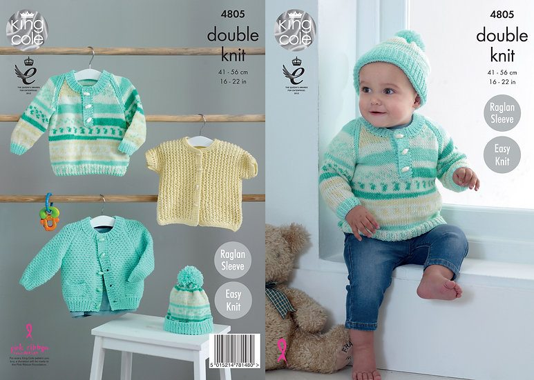 King Cole 4805 Babies Sweater, Cardigan and Hat Double Knitting Pattern