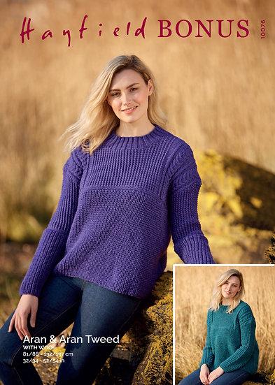 Hayfield 10076 Ladies Aran Sweater Knitting Pattern