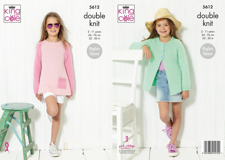 King Cole 5612 Children's Jumper and Cardigan Double Knit Pattern