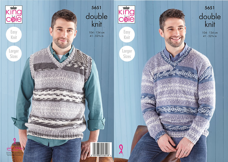 King Cole 5651 Mens V Neck Jumper and Vest Double Knit Pattern