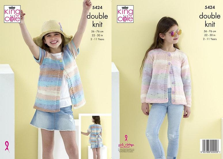 King Cole 5424 Children's Tie Back Cardigan Double Knit Pattern
