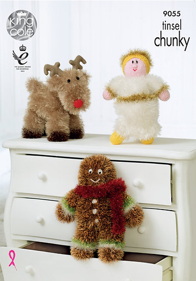 King Cole 9055 Angel, Rudolph and Gingerbread Man in Tinsel Chunky Pattern
