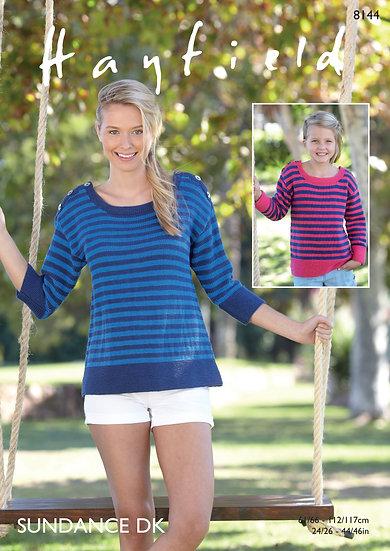 Hayfield 8144 Striped Top Double Knit Pattern