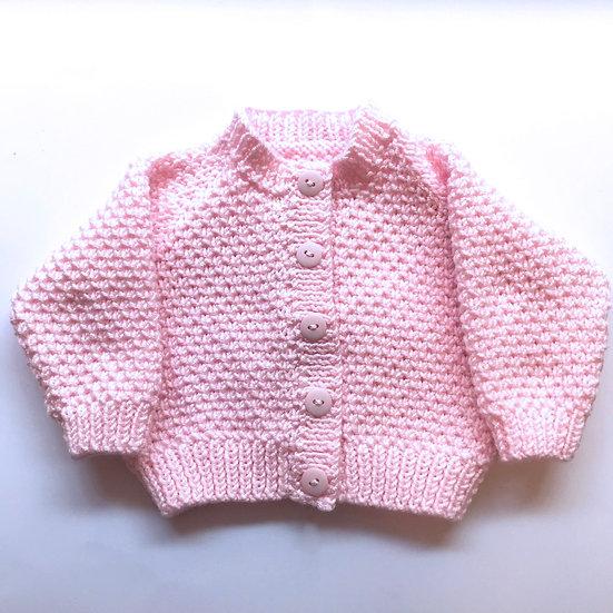 3 - 6 Months Pink Textured Babies Cardigan