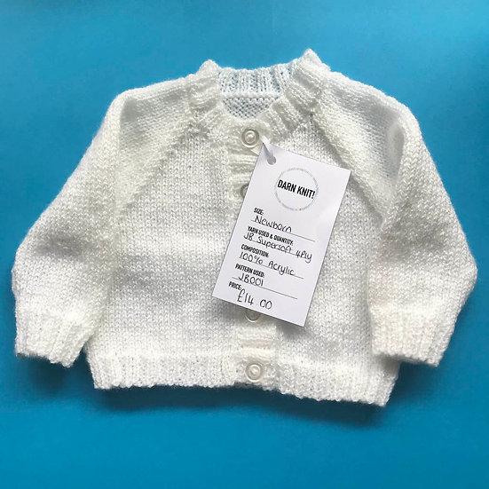 White Raglan Sleeve Newborn Baby Cardigan