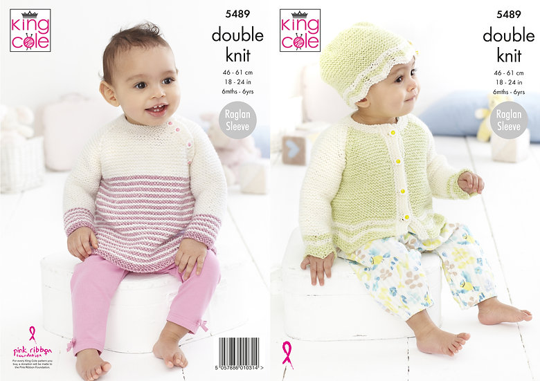 King Cole 5489 Babies Sweater, Cardigan and Hat Double Knitting Pattern