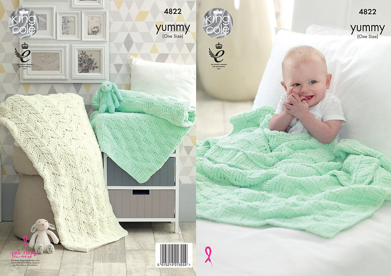 King Cole 4822 Babies Chunky Checkerboard and Textured Blankets Knitting Pattern