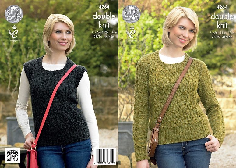 King Cole 4264 Ladies Cabled Sweater & Slipover Tank Top Double Knitting Pattern