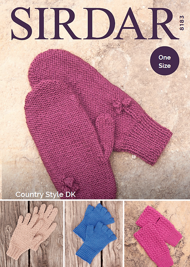 Sirdar 8183 Gloves, Mittens and Wristwarmers Double Knit Pattern