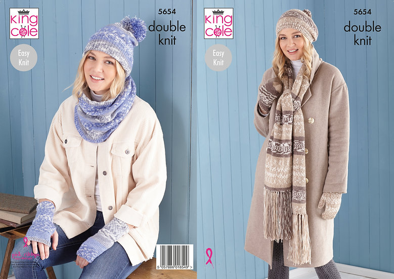 King Cole 5654 Hat, Scarf and Accessories Double Knit Pattern